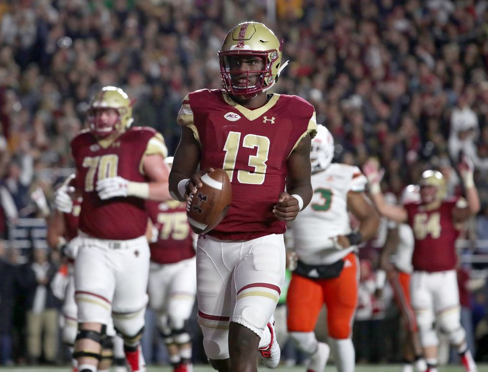 BC quarterback Anthony Brown strolls in for a 5-yard TD run in the first half.