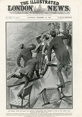 Helen Ogston being arrested on the 6 December 1908 as appearred in the Illustrated London News (that would have been sold in the US).