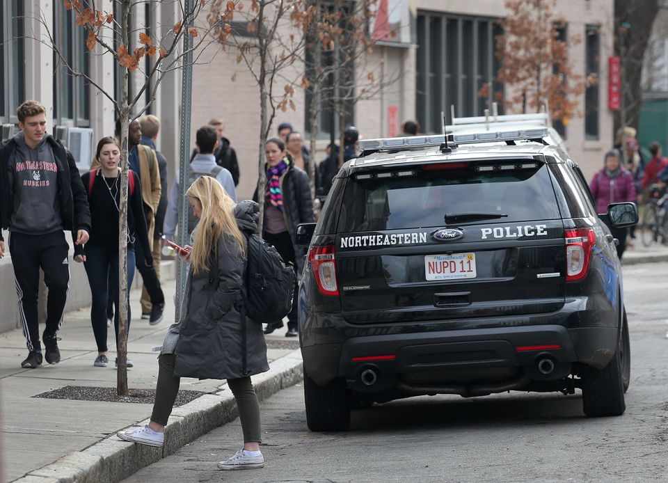 A Northeastern University Police Department vehicle near the main campus.