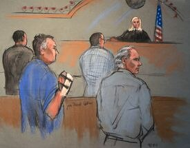 This photo of a courtroom sketch by Jane Flavell Collins shows members of Teamsters Local 25 during their arraignments last year on extortion charges.