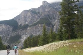 Biking on the outskirts of Banff National Park in Alberta.