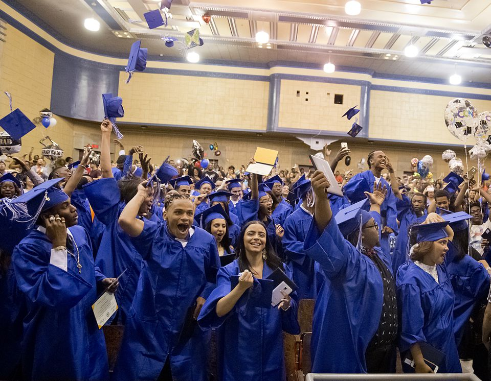 Graduates at Jeremiah E. Burke High School celebrated their graduation on Friday.