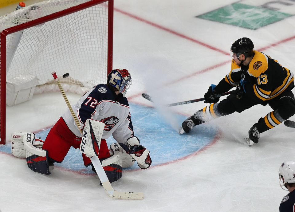 Charlie Coyle slipped the puck past Blue Jackets goalie Sergei Bobrovsky to score the game-winner in overtime.