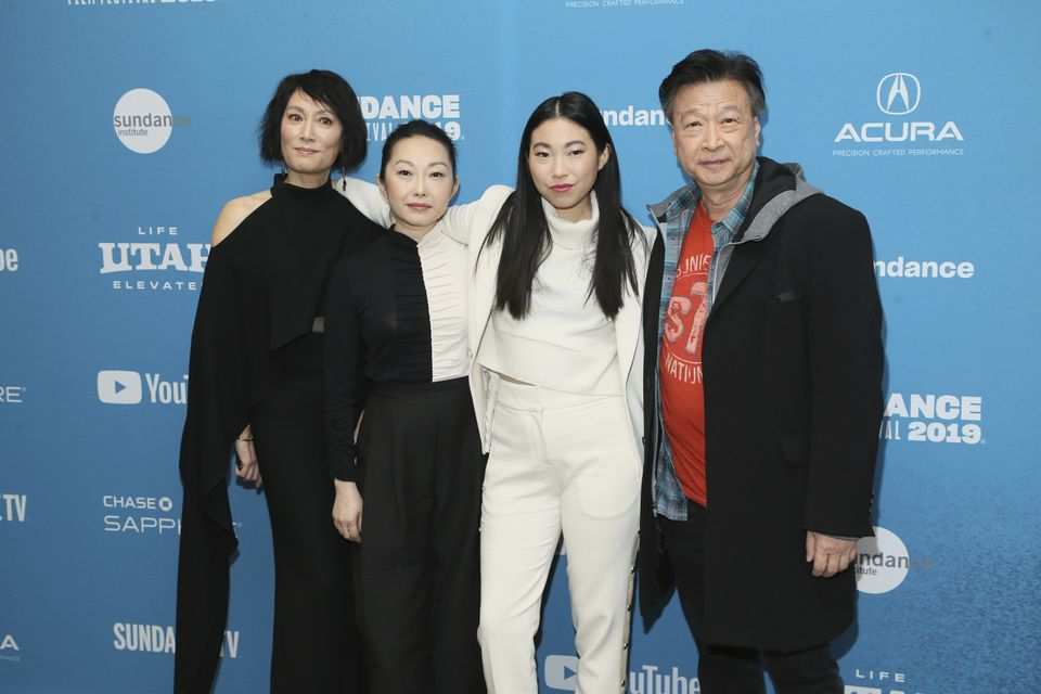 """From left: Diana Lin, writer-director Lulu Wang, Awkwafina, and Tzi Ma pose at the premiere of """"The Farewell"""" at the 2019 Sundance Film Festival. The film will be shown May 1 at the Coolidge Corner Theater, as part of the Independent Film Festival Boston."""
