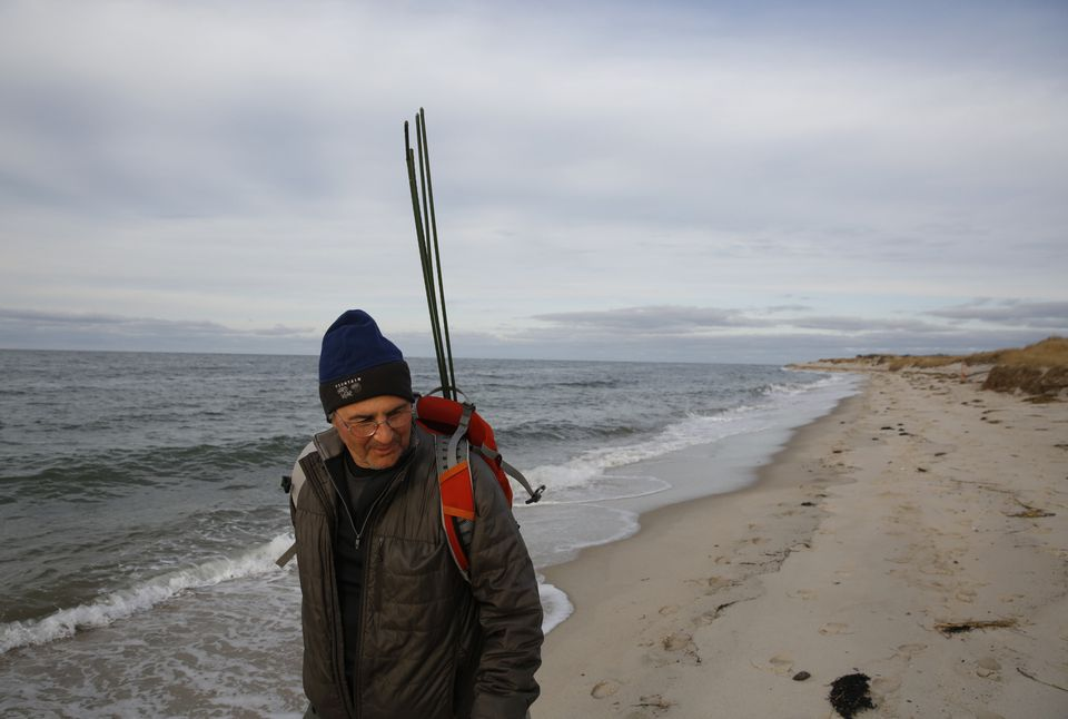 Dr. Roger Kligler walked along Chapin Beach in Dennis looking for sea turtles in need of rescuing.