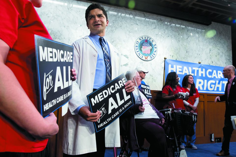 Medicare for All supporters arrived for a news conference on Capitol Hill in September.