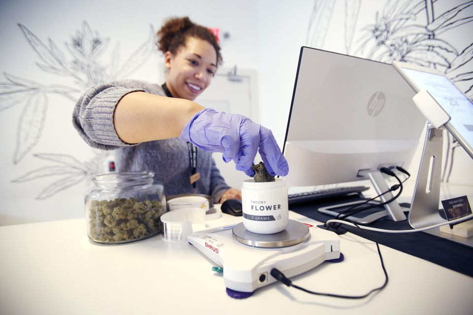 Andrea Lawrence measures out an order for a medical marijuana patient at Theory Wellness in Great Barrington on Jan. 10.