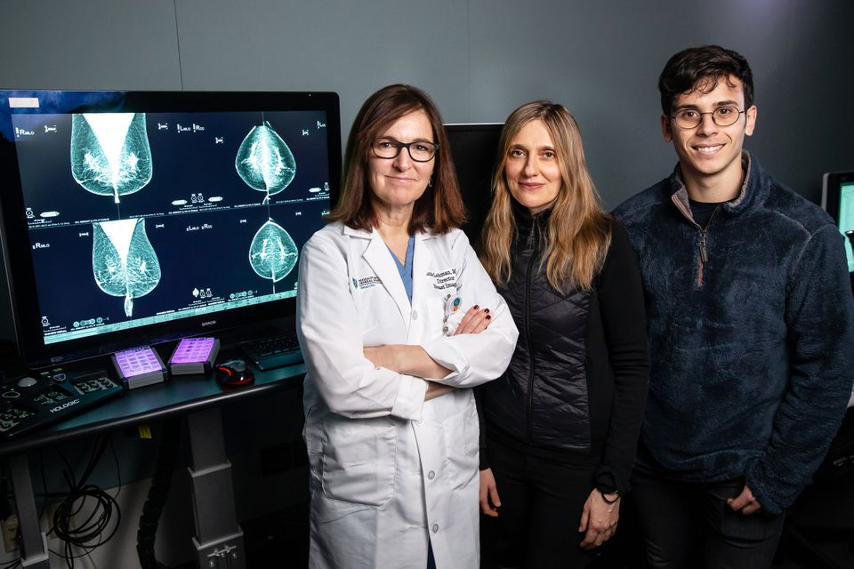 Dr. Connie Lehman, Dr. Regina Barzilay, and doctoral student Adam Yala at MGH. They are developing deep learning applications for breast cancer risk and early detection.