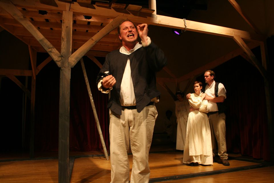 """From left: David Anderson, Caroline Price, and John Greene in Whistler in the Dark's production of """"Vinegar Tom."""""""