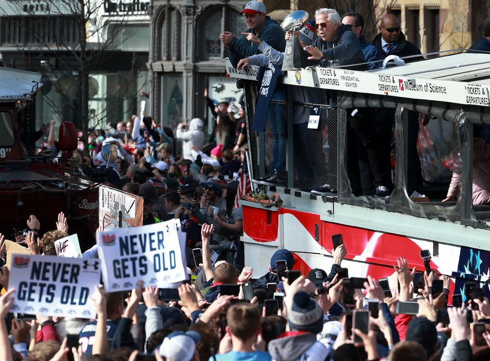 The Patriots parade rolled through Boston.