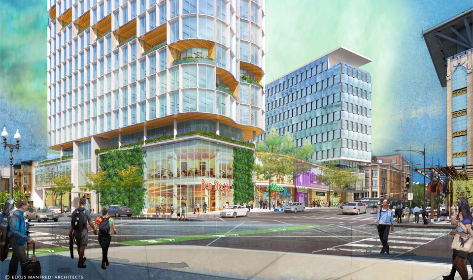 A rendering of two proposed Back Bay buildings, as seen from Boylston Street.