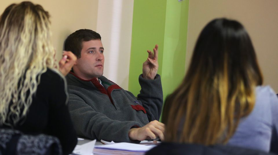 Nicholas Salerno participates in a class at Framingham State University's Entrepreneur Innovation Center.