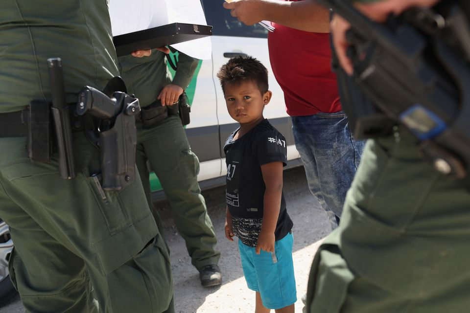 US Border Patrol agents took into custody a father and son from Honduras at the US-Mexico border this month near Mission, Texas.
