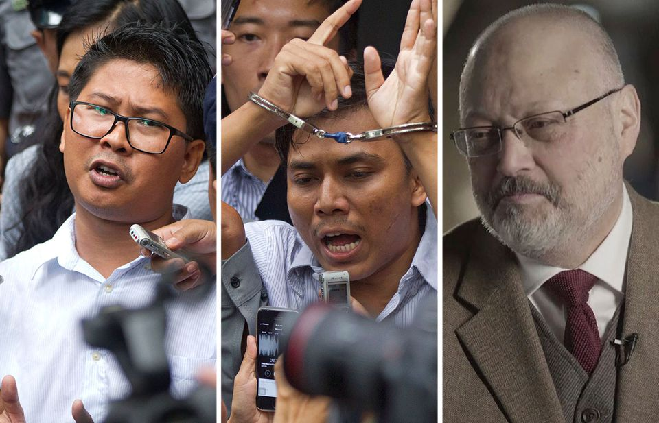 """Reuters Reporters Wa Lone and Kyaw Soe Oo – who two weeks ago earned Pulitzer Prizes for their series """"Myanmar Burning"""" – and Jamal Khashoggi, the murdered columnist for The Washington Post, are among the journalists on the One Free Press Coalition's """"10 Most Urgent"""" list."""