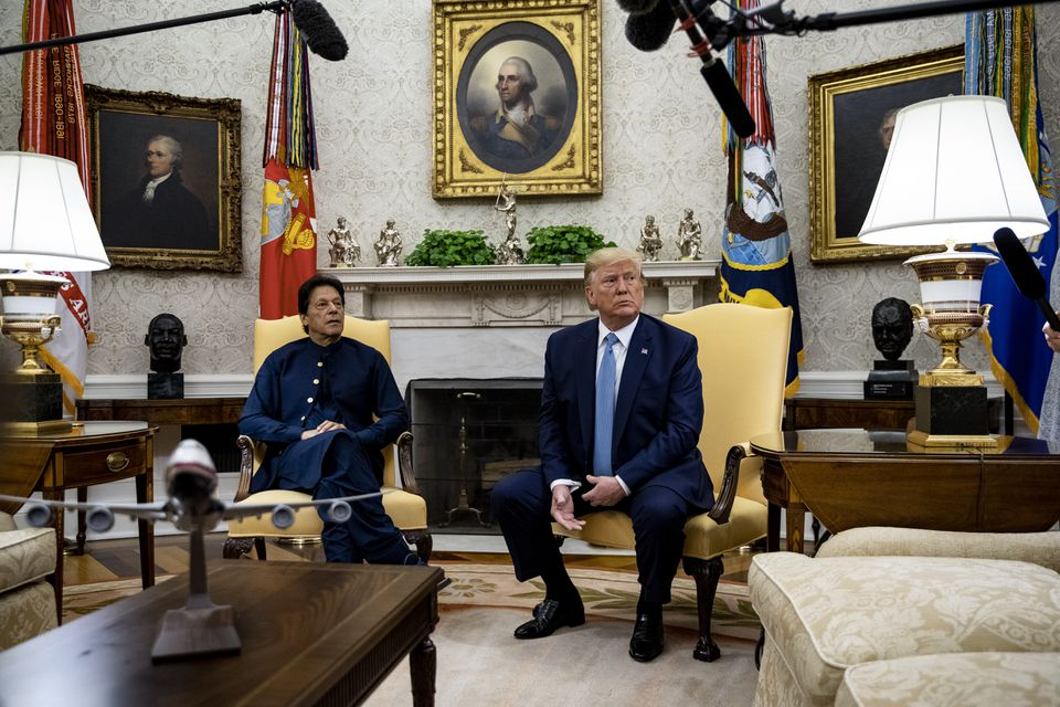 President Trump and Prime Minister Imran Khan of Pakistan took questions from reporters during a meeting in the Oval Office of the White House on Monday.