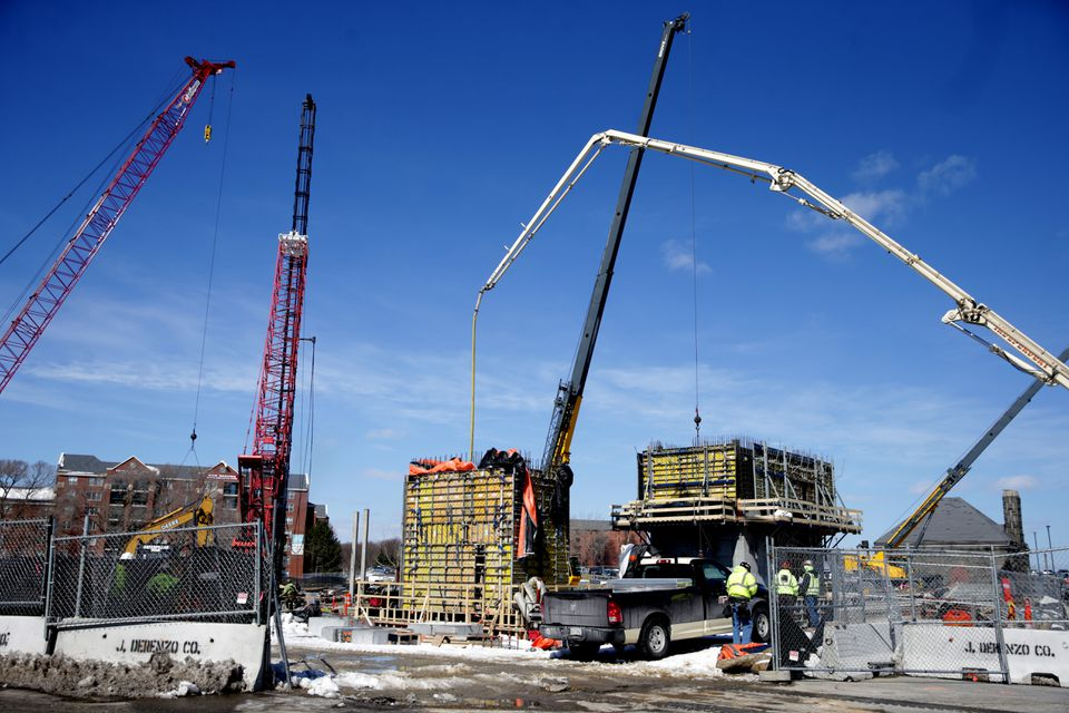 This is one of many construction projects under way on the UMass Boston campus.