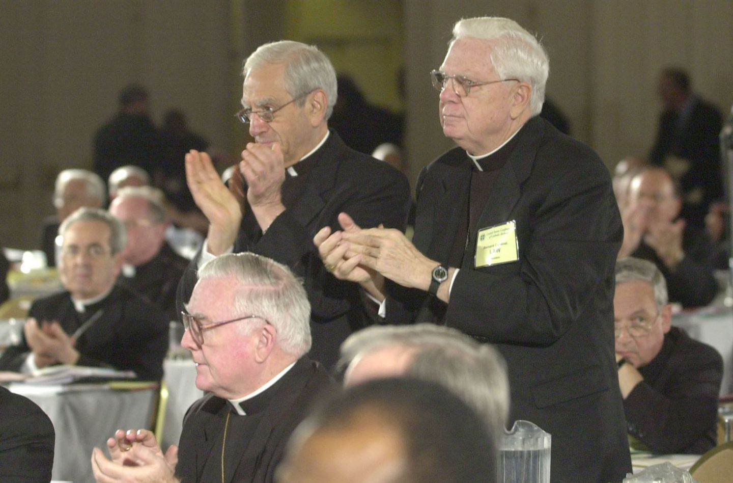 """Cardinal Anthony Bevilacqua of Philadelphia, shown with Cardinal Bernard Law of Boston, led a push to limit the new strictures to """"priests and deacons."""""""