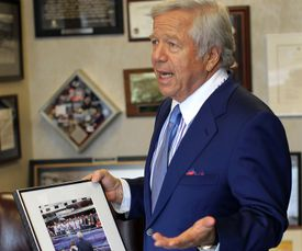 Robert Kraft holds on to memories of his wife Myra, who died in July of 2011. Sunday's game is dedicated to her.