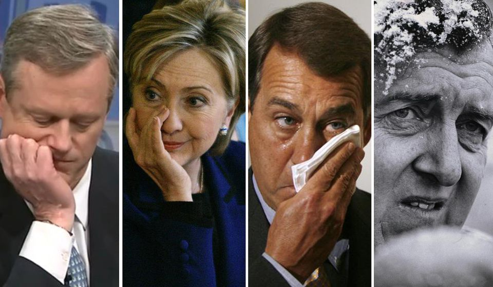 Charlie Baker's show of emotion recalled those of Hillary Rodham Clinton, John Boehner, and Edmund Muskie. Photos (clockwise from top left) by WCVB-TV, Elise Amendola/Associated Press, Jason Reed/Reuters, and Mike Lien/New York Times
