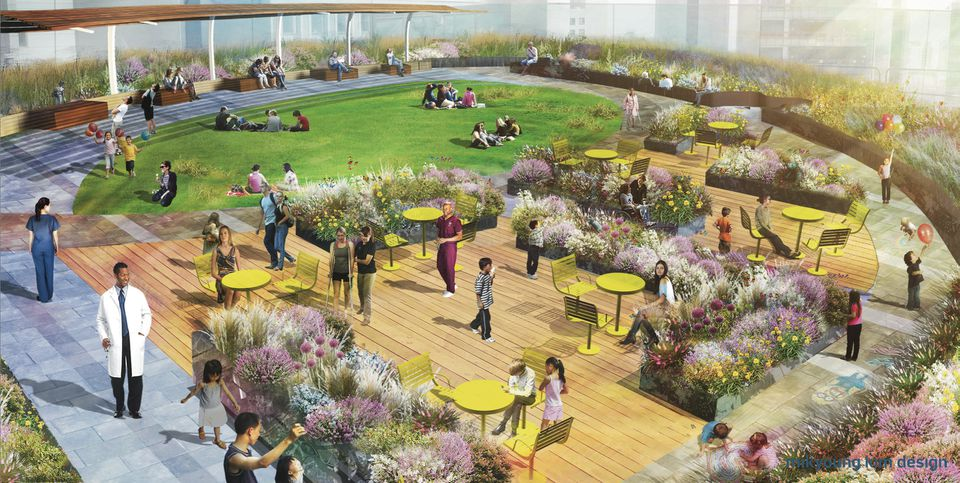 An artist's rendering of a  rooftop garden at Boston Children's Hospital, one of several planned green spaces.