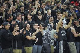 N. Andover supporters cheer on their team. Division 2 North semifinal, North Andover v. Wakefield boys' basketball.