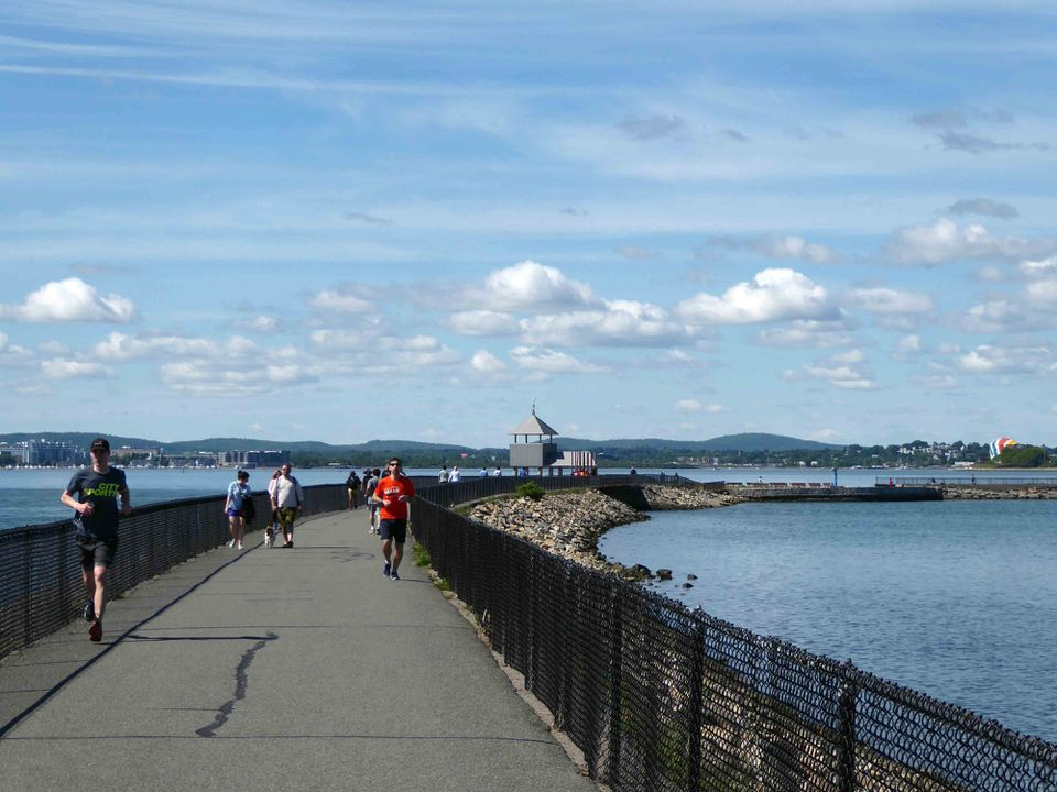 The Pleasure Bay loop in South Boston gives sweeping harbor views down to the Dorchester gas tank.