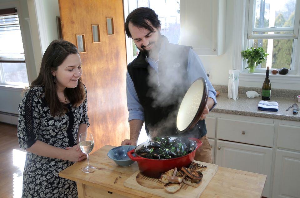 Rebecca Theris and Daniel Myers making their mussels with bacon in white wine.