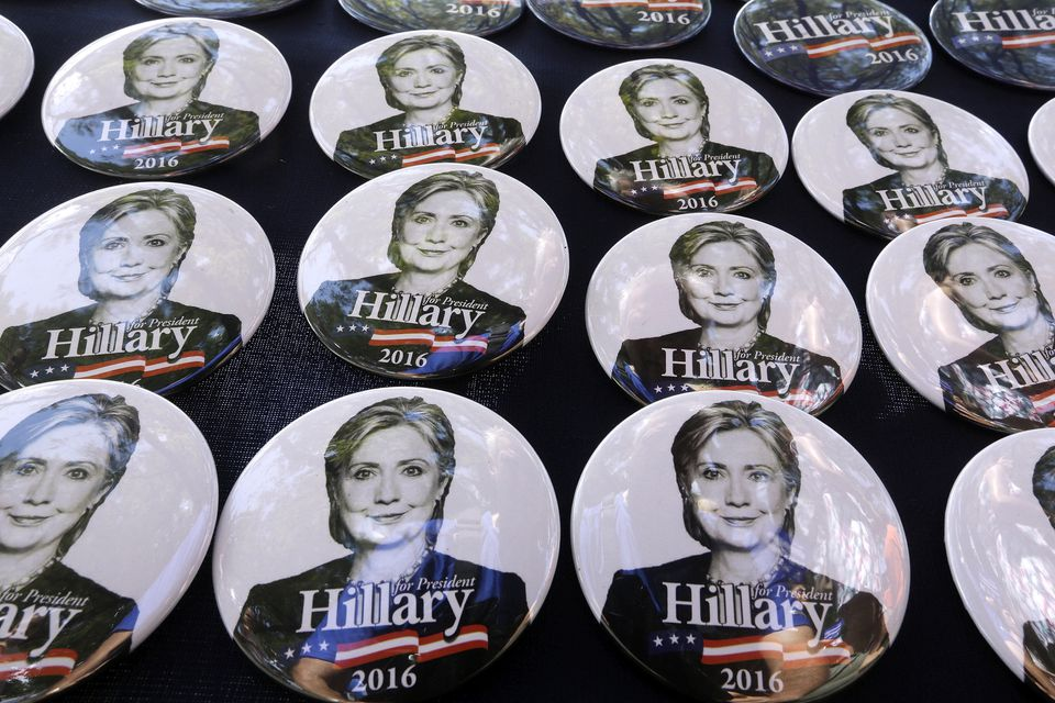 Hillary Clinton campaign buttons at the Illinois State Fair on Thursday.