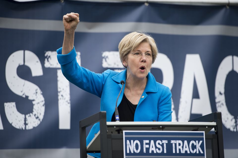"""Senator Elizabeth Warren spoke last week during the United Steelworkers rally in opposition to the proposed """"Fast Track"""" bill."""