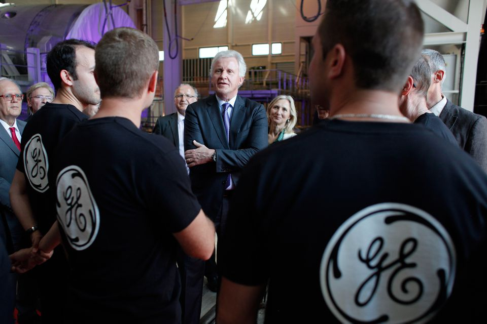 General Electric Co. CEO Jeffrey R. Immelt spoke with workers at a General Electric plant in Belfort, France, in June 2014.