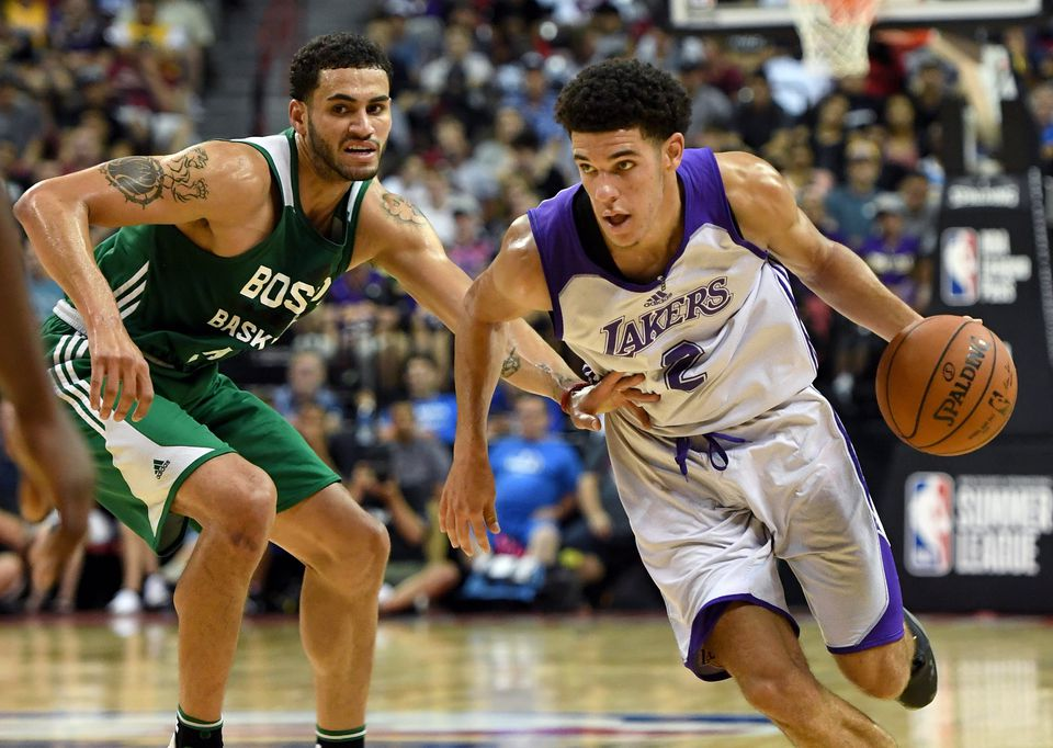 27d2da1c27c Celtics forward Abdel Nader (left) couldn t keep up with Lakers rookie Lonzo