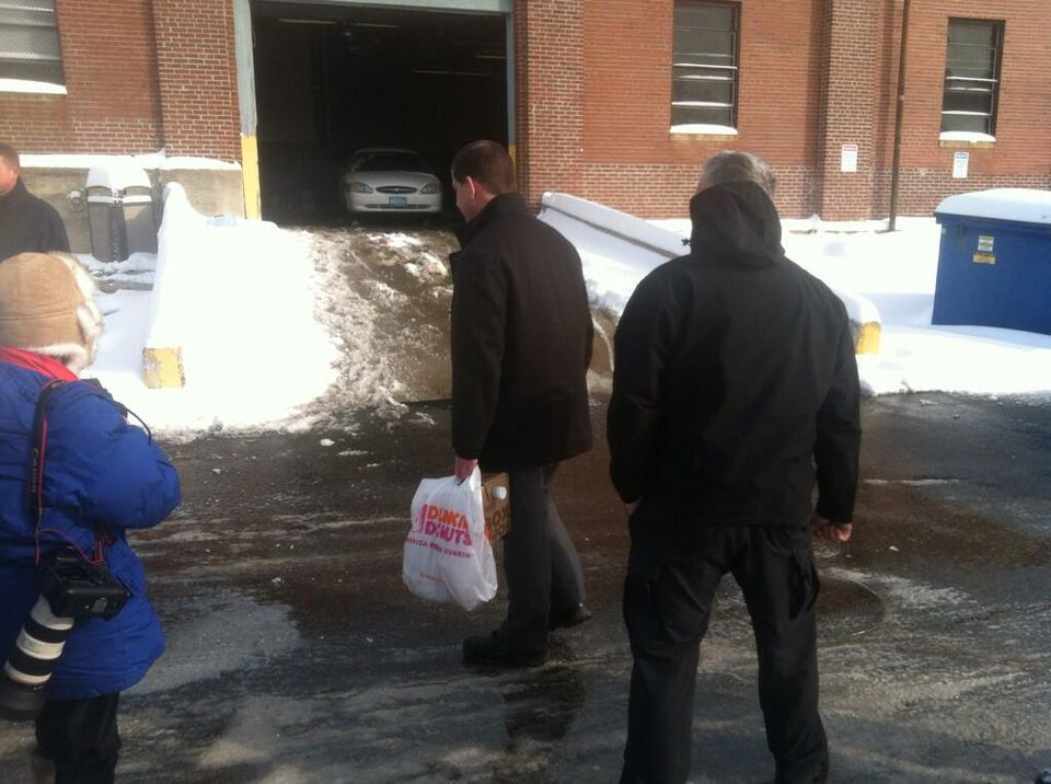 Accompanied a public works employee who will serve as the city snow czar, Mayor-Elect Martin Walsh stopped by a loading zone for salt and plow trucks.