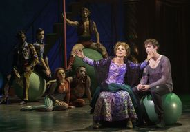 Andrea Martin, center, plays Berthe and Matthew James Thomas, right, plays Pippin, in a 40th-year revival,