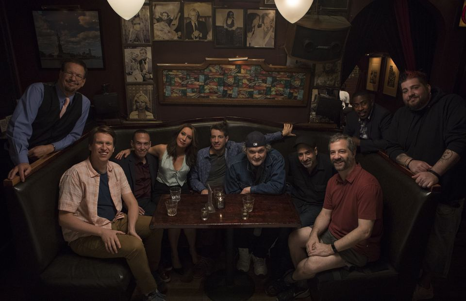 """Crashing"" regularly casts standup comedians as guest stars. From left: performers Penn Jillette, Pete Holmes, Gilbert Gottfried, Rachel Feinstein, Dan Naturman, Artie Lange, Dave Attell, Judd Apatow, Keith Robinson, and Jay Oakerson on the set of the season 2 premiere."