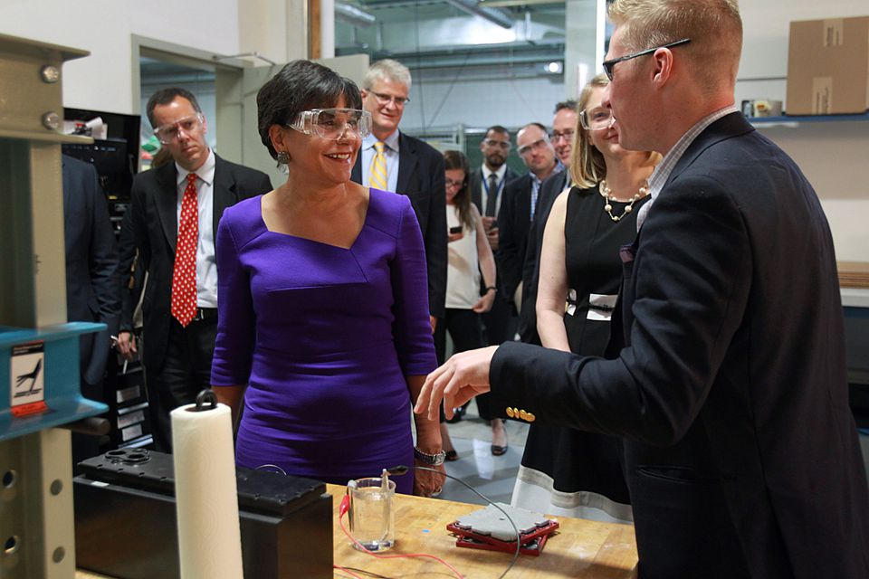 US Commerce Secretary Penny Pritzker toured Greentown Labs in Somerville, a clean energy incubator. She met with Thomas B. Milnes, CEO of Open Water Power, Inc.