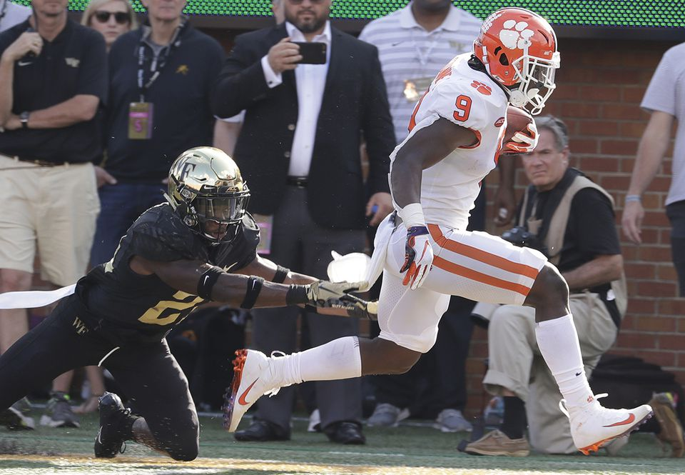 Clemson's Travis Etienne is averaging 110.9 rushing yards per game.