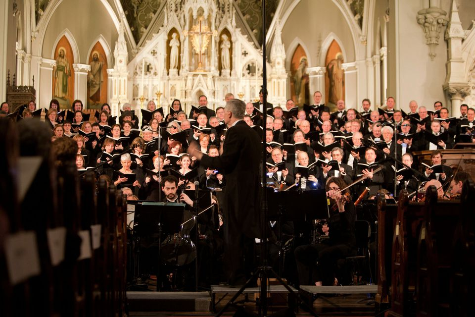 """Richard Pittman conducted the """"War Requiem'' Saturday at the Cathedral of the Holy Cross with the New England Philharmonic along with with three choral groups and soloists."""