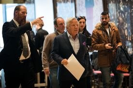 Robert Kraft, owner of the New England Patriots, arrived at Trump Tower in November to visit with then president-elect Trump.