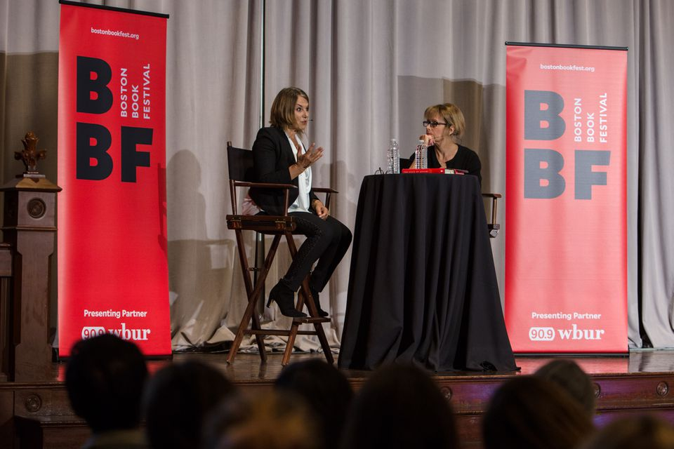 Esther Perel (left) talked with WBUR's Robin Young at last year's Boston Book Festival.