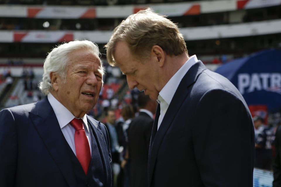 Robert Kraft (left) appears headed for another showdown with NFL commissioner Roger Goodell.