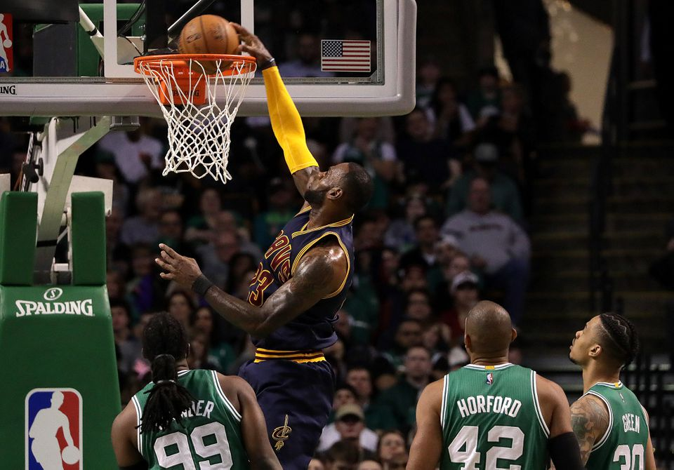 Cavaliers star LeBron James slammed away at the Celtics in the second quarter.