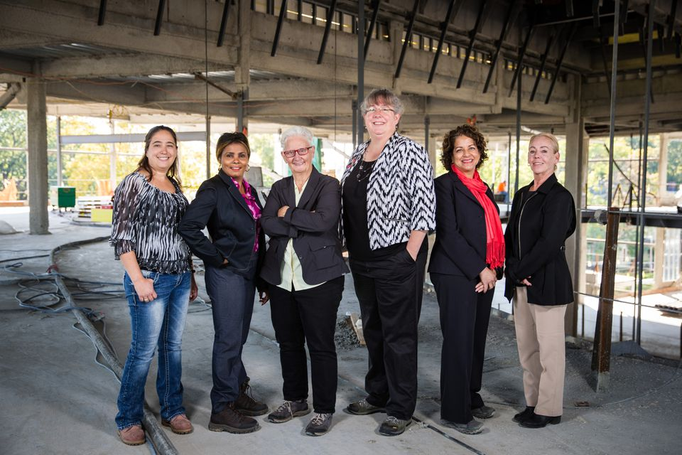 Through efforts like the Policy Group on Tradeswomen's Issues, activists such as (from left) Danielle Skilling, Maggie Drouineaud, Susan Moir, Elizabeth Skidmore, Jill Griffin, and Linda Shaughnessy are helping expand the female presence on  building sites.