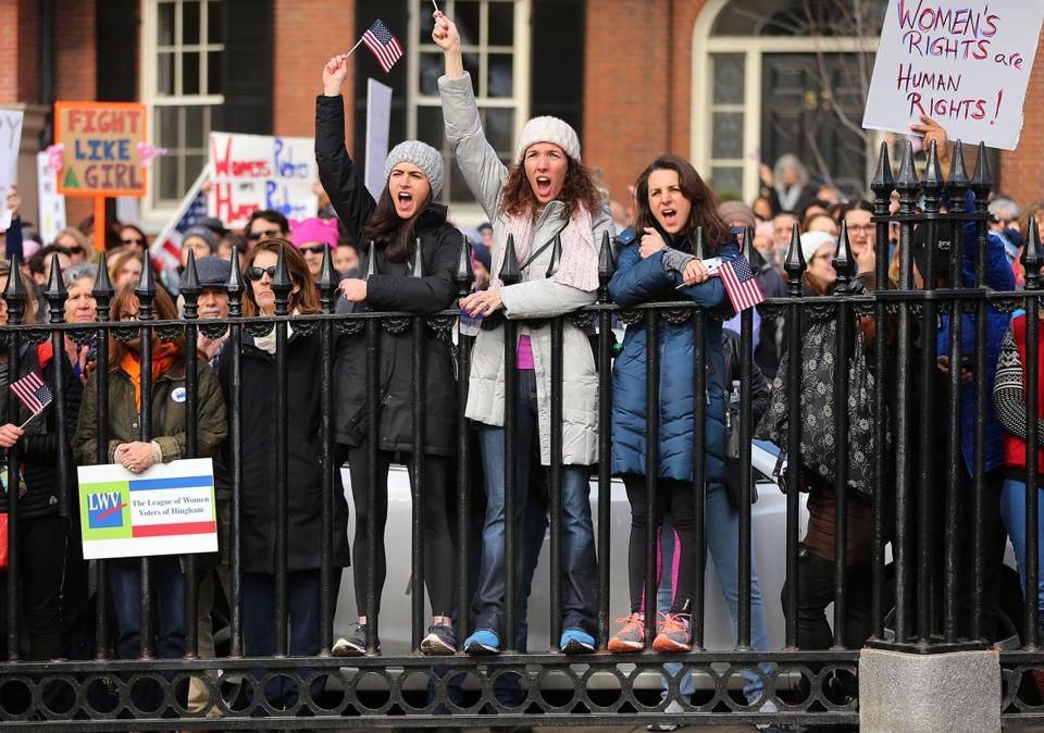 Thousands of people filled Boston Common for the Boston Women's March for America on Saturday.