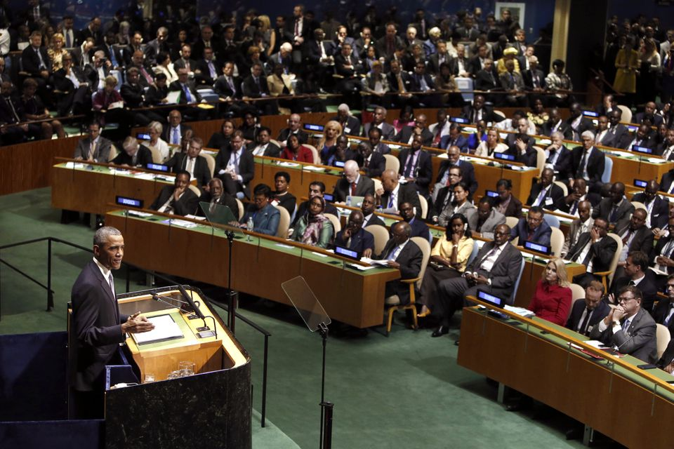 Most countries adhere to a basic set of global rules and norms, participate in international institutions, and are integrated into an interdependent global economy. Pictured: The United Nations General Assembly last year.