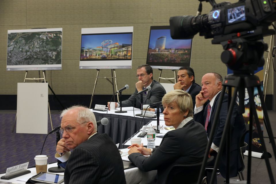 The state gambling commission heard presentations from Cordish Cos., Penn National Gaming, and Raynham Park. All of the plans had price tags of more than $200 million
