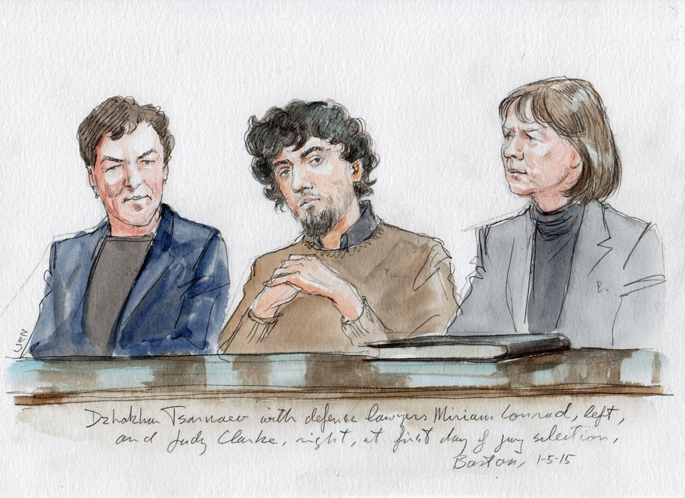 Tsarnaev with defense lawyers Miriam Conrad, left, and Judy Clarke, right, at the first day of jury selection in Boston.