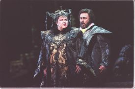 """Eaglen performing with Luciano Pavarotti in a 2000 production of """"Turandot"""" at the Metropolitan Opera."""