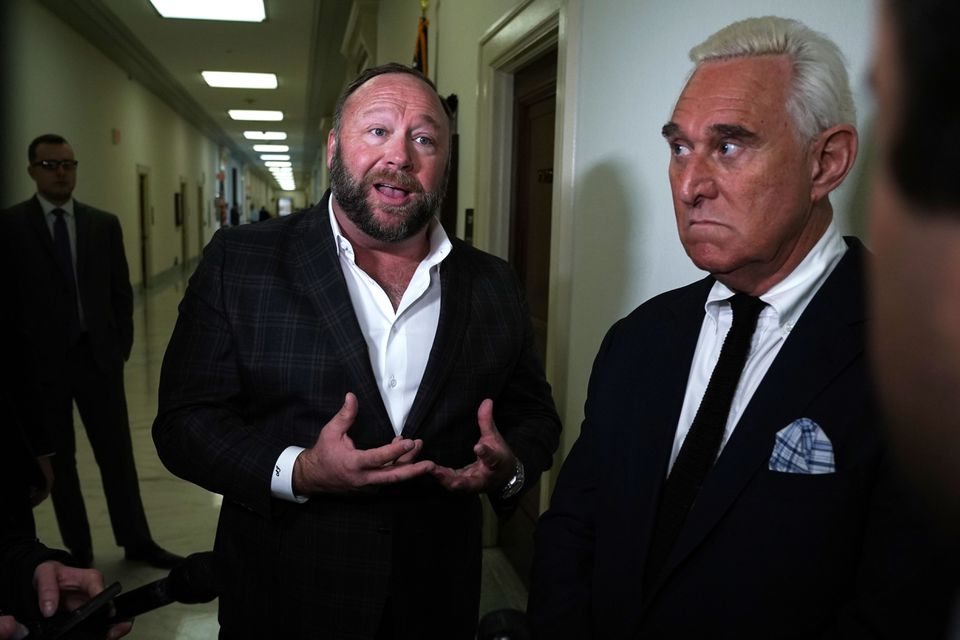 Alex Jones (left) of InfoWars and Former Trump adviser Roger Stone before a House Judiciary Hearing on Capitol Hill on Dec. 11.