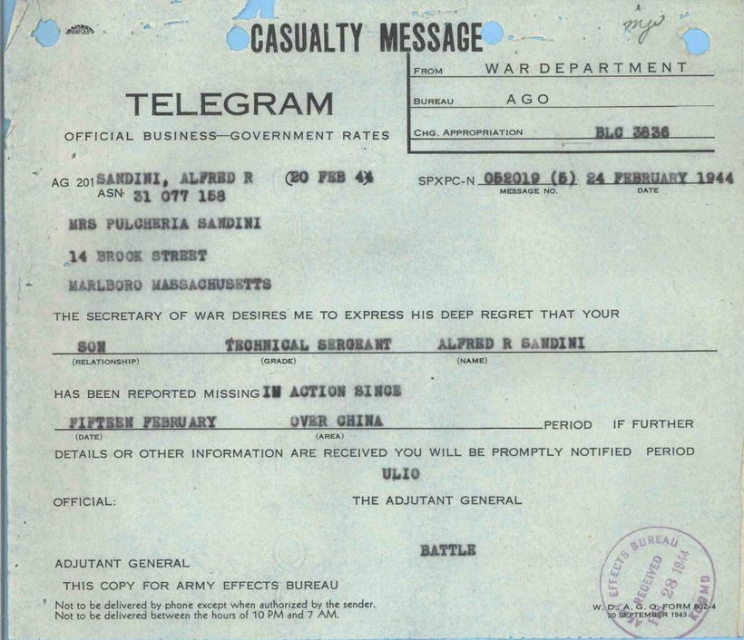 A telegram dated Feb. 20, 1944, notified Pulcheria Sandini that her son Alfred had been reported missing in action.