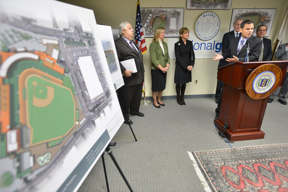 Malden Mayor Gary Christenson spoke during a December 2013 press conference to announce an agreement to build a minor league ballpark on the former National Grid site in downtown Malden.